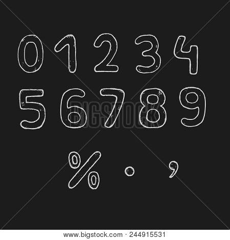 Vector Hand Drawn Numbers. Vector Chalk Numbers. Vector Doodle Numbers.