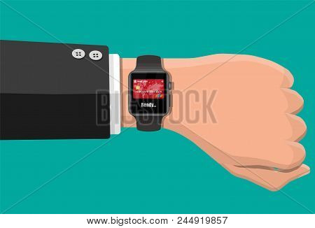 Smart Watch Contactless Payments. Smartwatch On Hand. Wireless, Contactless Or Cashless Payments, Rf