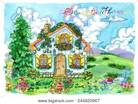 Beautiful Cottage With Garden Furniture, Flowers And Conifer. Vintage Country Background With Summer