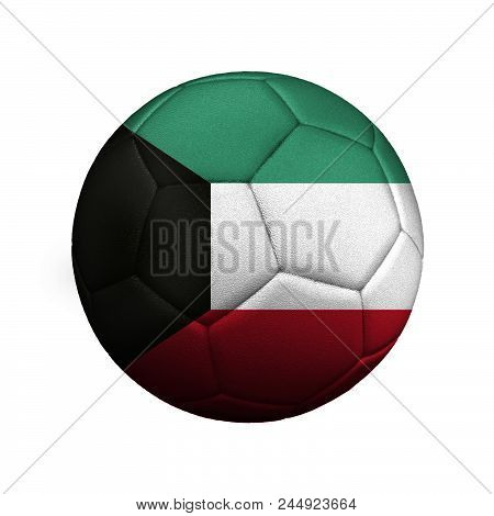 The Flag Of Kuwait Is Depicted On A Soccer Ball, The Ball Is Close Up Isolated On A White Background