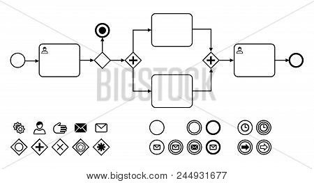 Business Process Diagrams With Icons Flat Vector Illustration. Icons For Notation Bpmn. Concept For