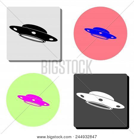 Ufo Flying Saucer. Simple Flat Vector Icon Illustration On Four Different Color Backgrounds