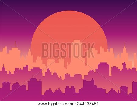 Flat Cityscape With Sunset Sky And Sun, Modern City Skyline Flat Panoramic Vector Background. Urban