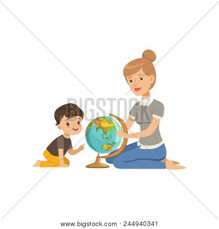 Little Boy Studying Geography With His Teacher, Geography Class In Primary School, Preschool Educati