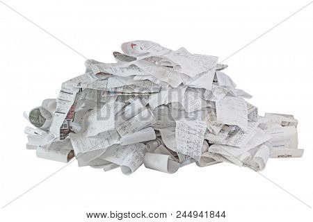 Pile of paper cash register receipts isolated on white background