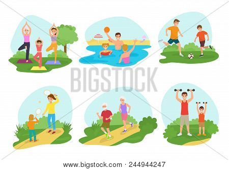 Family Workout Exercise Vector Active People Mom Or Dad Character And Kids Exercising Together In Pa