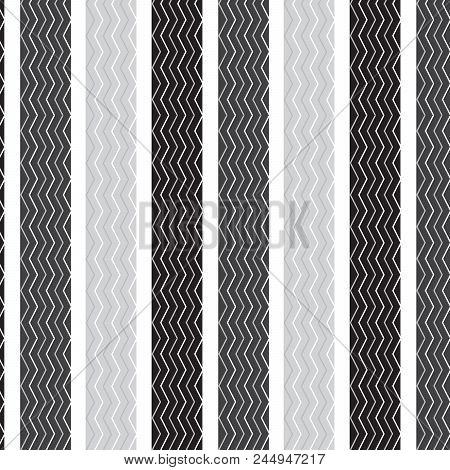 White Silver Chevron Vertical Striped Inside Black Silver Vertical Striped Pattern White Background