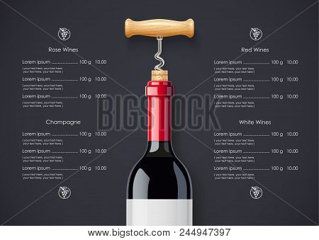 Red Wine Bottle, Cork And Corkscrew Concept Design For Wines List In Dark Background. Drink Menu. Bo