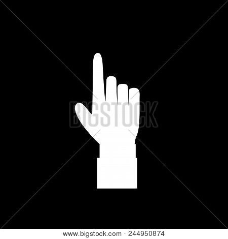 Hand Gesture With A Raised Index Finger. Pointing Finger Icon Illustration Of Businessman White Hand