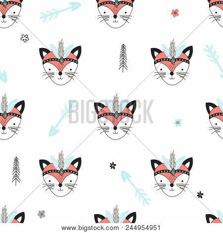 Seamless Pattern With Cute Woodland Tribal Foxes In Cartoon Style. Vector Illustration For Kids.