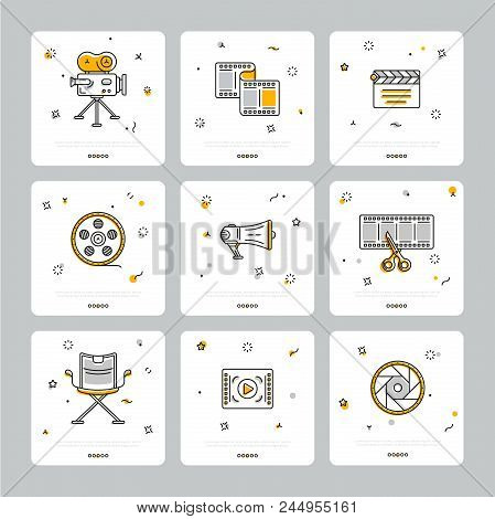 Square Icons With Cinematography Theme Showing Filmstrip And Equipment Composed On Gray Background