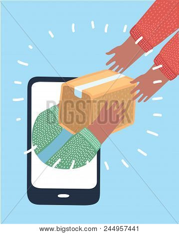 Vector Cartoon Illustration Of Hand Holds Parcel Box And Comes Out Of Screen To Hand-to-hand Deliver