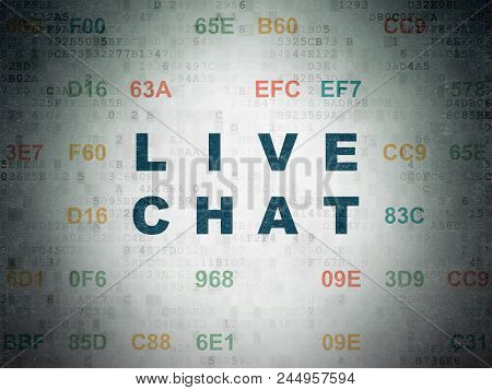 Web Design Concept: Painted Blue Text Live Chat On Digital Data Paper Background With Hexadecimal Co