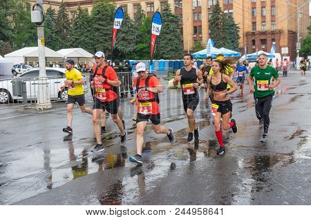Dnipro, Ukraine - May 20, 2018: Group Of Participants At The Head Of Pacemakers Running On The Centr