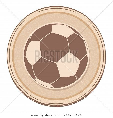 Hand Drawing Style Soccer Football Over Brown Circular Border