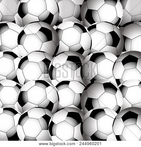3d Illustration Of Close Up Football Soccer Balls Background In Black And White