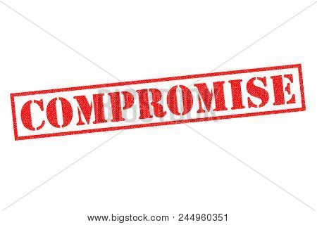 Compromise Red Rubber Stamp Over A White Background.