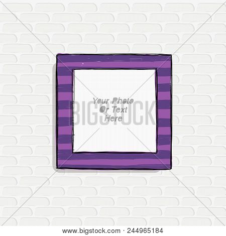 Cartoon Style. Decorative Vector Template Frame. This Photo Frame You Can Use For Kids Picture Or Or