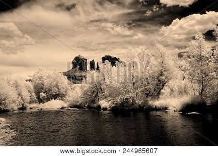 Infrared Sepia Tones Cathedral Rock Sedona Arizona