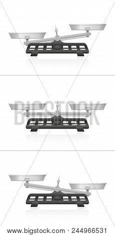 Weighing Scales. Equal And Unequal Weightiness, Two Pans In Balance And Imbalance, Isolated Vector I