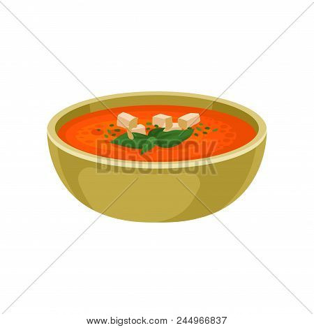 Refreshing Gazpacho Soup In Ceramic Bowl. Delicious Dish Of Spanish Cuisine. Food Theme. Graphic Ele