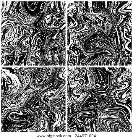 Marble Texture Backgrounds Set. Ink Tile. Stock Vector