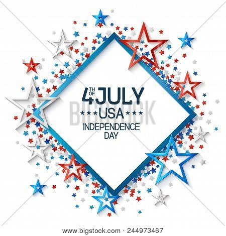 Fourth Of July Background With Frame, On White Background And, Stars In American Flag Colors, Design