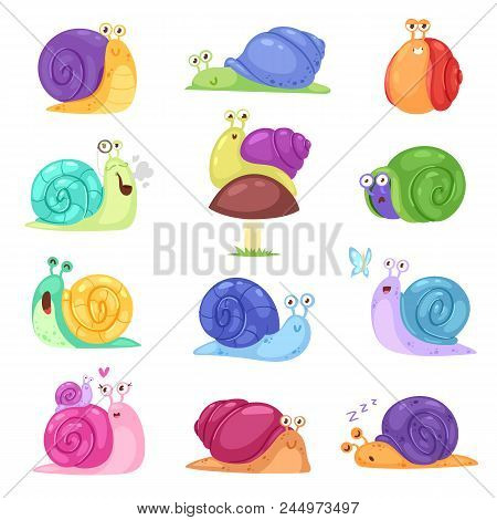 Snail Vector Snail-shaped Character With Shell And Cartoon Snailfish Or Snail-like Mollusk Kids Illu
