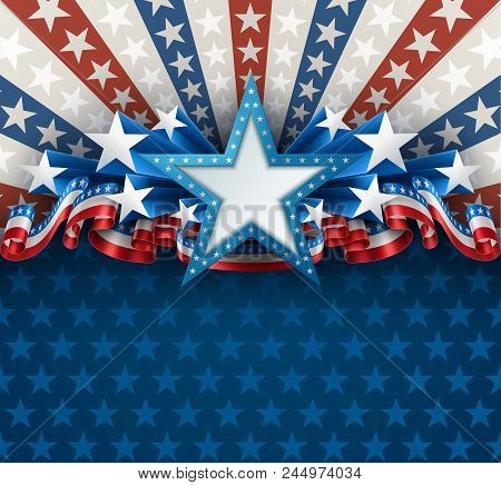 Patriotic Background With Star Shape Banner And Ribbons, Eps 10, Contains Transparency.
