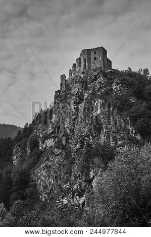 The Ruins Of Medieval Strecno Castle Near Zilina In Slovakia In Black And White.