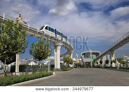 Ashgabat, Turkmenistan -  September 26, 2017:  Part Of The Sport Complex, With  Monorail.  Asian Ind