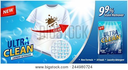 Laundry Detergent, Stain Remover Ad Vector Template. Ads Poster Design On Blue Background With White