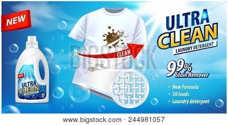Stain Remover, Laundry Detergent, Ad Vector Template. Ads Poster Design On Blue Background With Whit