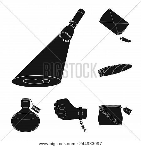 Detective Agency Black Icons In Set Collection For Design. Crime And Investigation Vector Symbol Sto