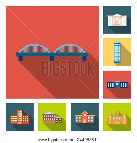 Building And Architecture Flat Icons In Set Collection For Design. Construction And Institution Vect
