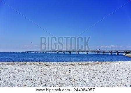 Beautiful Artificial Marble Beach Along The Shoreline Of Rinku Town , Viewing Kansai Kokusai Kuko Re