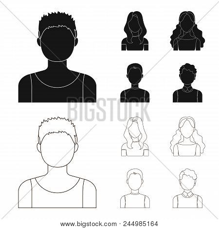 Girl With Long Hair, Blond, Curly, Gray-haired Man.avatar Set Collection Icons In Black, Outline Sty