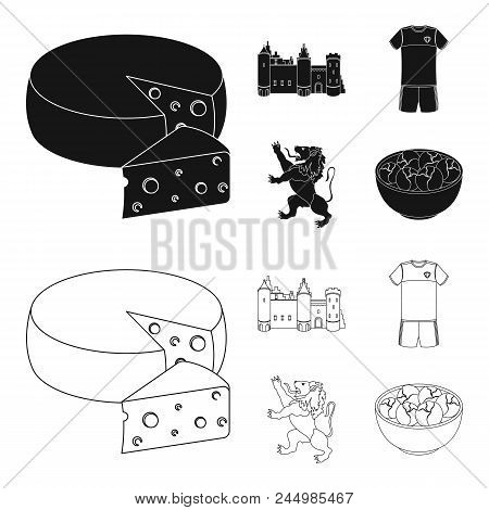 Cheese, Lion And Other Symbols Of The Country.belgium Set Collection Icons In Black, Outline Style V