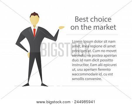 Confident Businessman Flat Character Design. Politician, Office Worker, Clerk, Marketer. Vector Isol