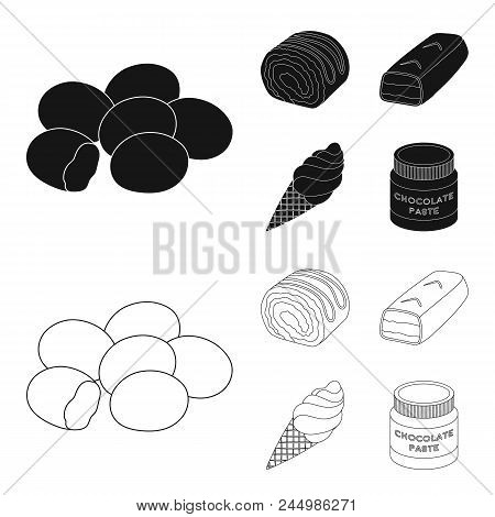 Dragee, Roll, Chocolate Bar, Ice Cream. Chocolate Desserts Set Collection Icons In Black, Outline St