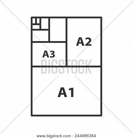 Paper Sizes Linear Icon. Thin Line Illustration. Paper Sheet Formats. A3, A1, A2. Contour Symbol. Ve