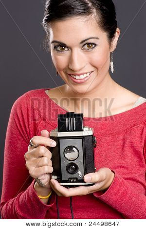 Pretty Woman With Vintage Camera