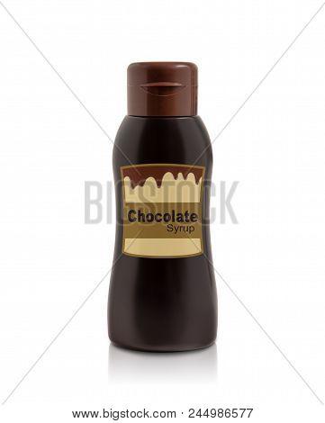 Chocolate Syrup Bottle Isolated On White Background