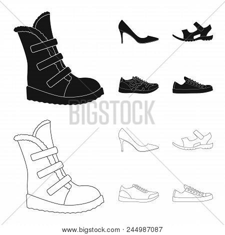 A Set Of Icons On A Variety Of Shoes.different Shoes Single Icon In Black, Outline Style Vector Symb