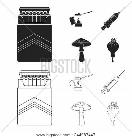 Cigarettes, A Syringe, A Galoyucinogenic Fungus, Heroin In A Spoon.drug Set Collection Icons In Blac