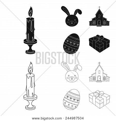Church, Candle, Easter Bunny And Painted Egg.easter Set Collection Icons In Black, Outline Style Vec