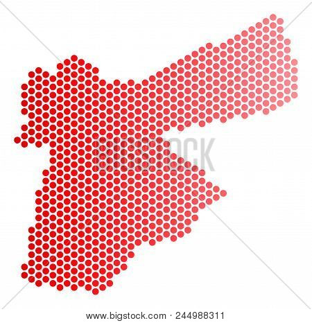 Red Dotted Jordan Map. Geographic Plan In Red Color With Horizontal Gradient. Vector Concept Of Jord