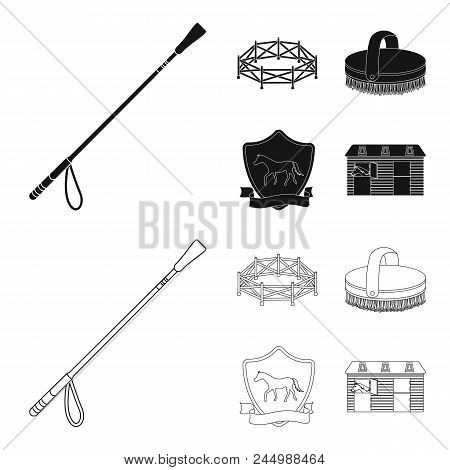 Aviary, Whip, Emblem, Hippodrome .hippodrome And Horse Set Collection Icons In Black, Outline Style