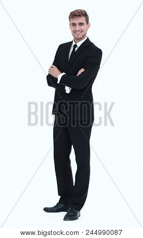 portrait in full length of confident businessman.
