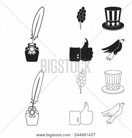 Balloons, Inkwell With A Pen, Uncle Sam's Hat. The Patriot's Day Set Collection Icons In Black,outli